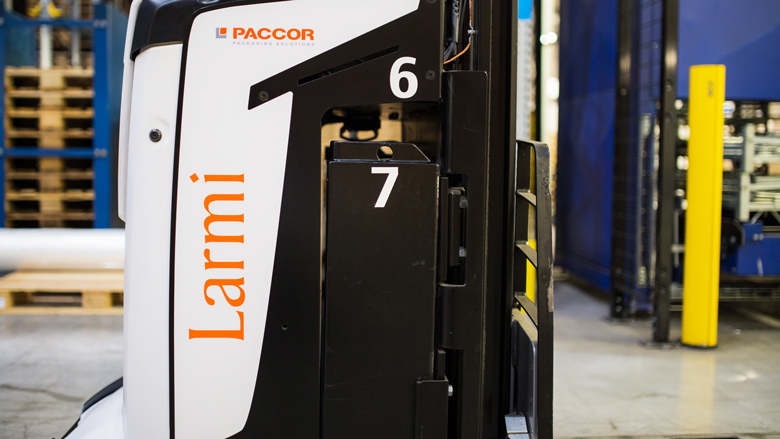 Rocla AVG called Larmi is part of PACCOR's intralogistics team.